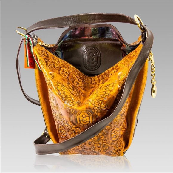 Marino Orlandi Handbags - Marino Orlandi Butterfly Leather Bucket Bag